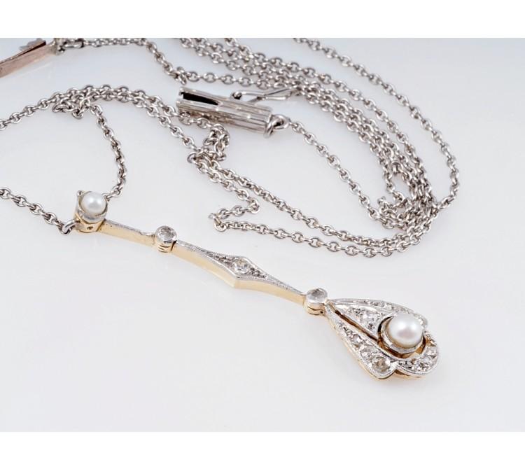antike Jugendstil Kette Collier Natur Perlen Diamanten 585 Gold Platin um 1900