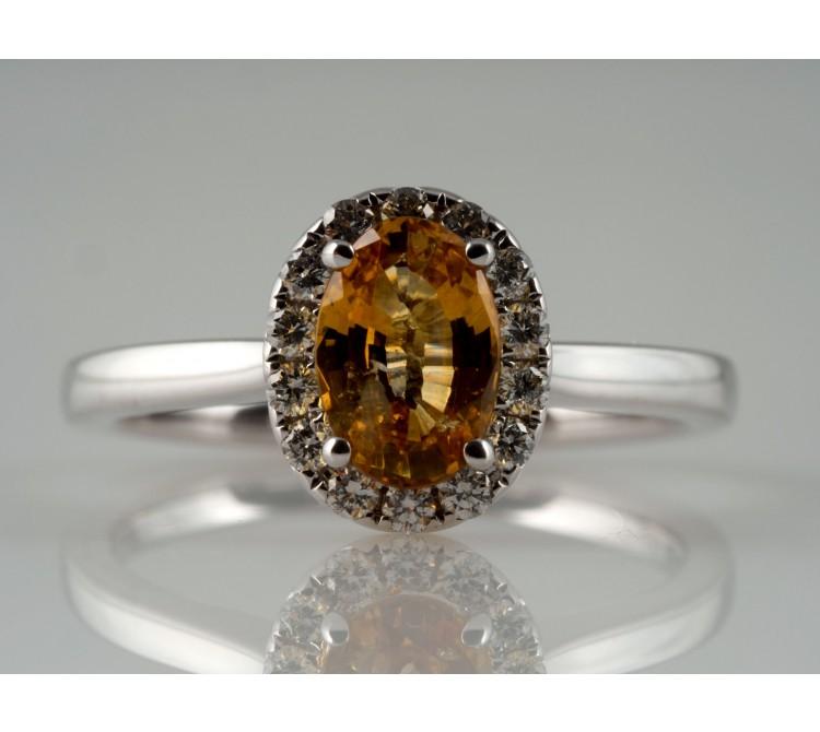 RING / 1,36 Karat BRILLANTEN CEYLON SAPHIR / 750 GOLD / WERT: ca. 1.600,- EUR
