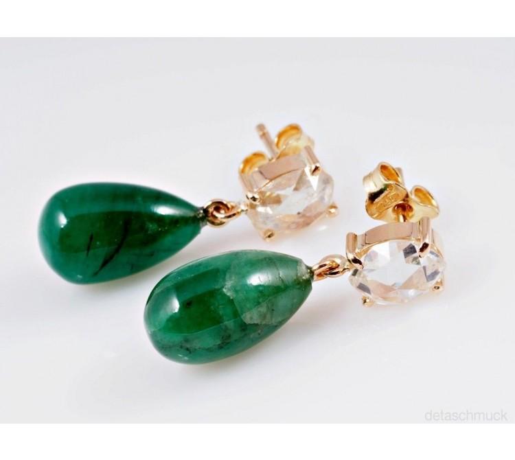 vintage Ohrringe Ohrstecker Rosenschliff Diamanten Smaragde 750 Gelb Gold