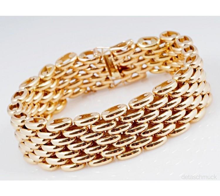 vintage Armband Ziegelmuster 750 Gold 18 Karat ca. 120,40 Gramm