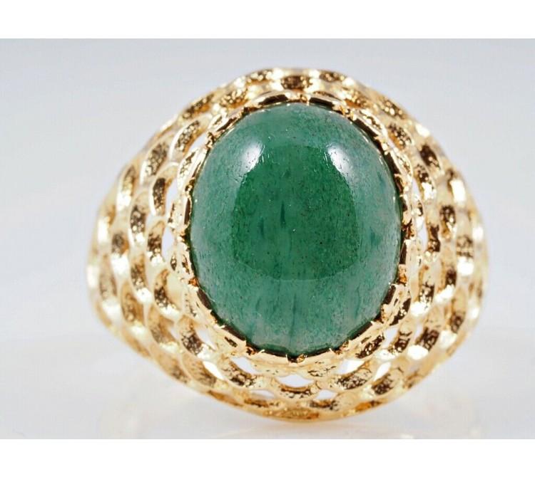 vintage Ring 4,00 Karat Jade 750 Gelb Gold 18 Karat