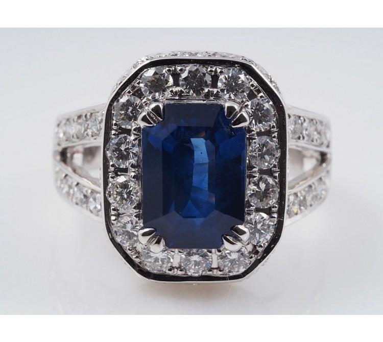 Ring 2,00 Karat Brillanten 4,25 Karat Saphir 750 Gold IGI Expertise neu