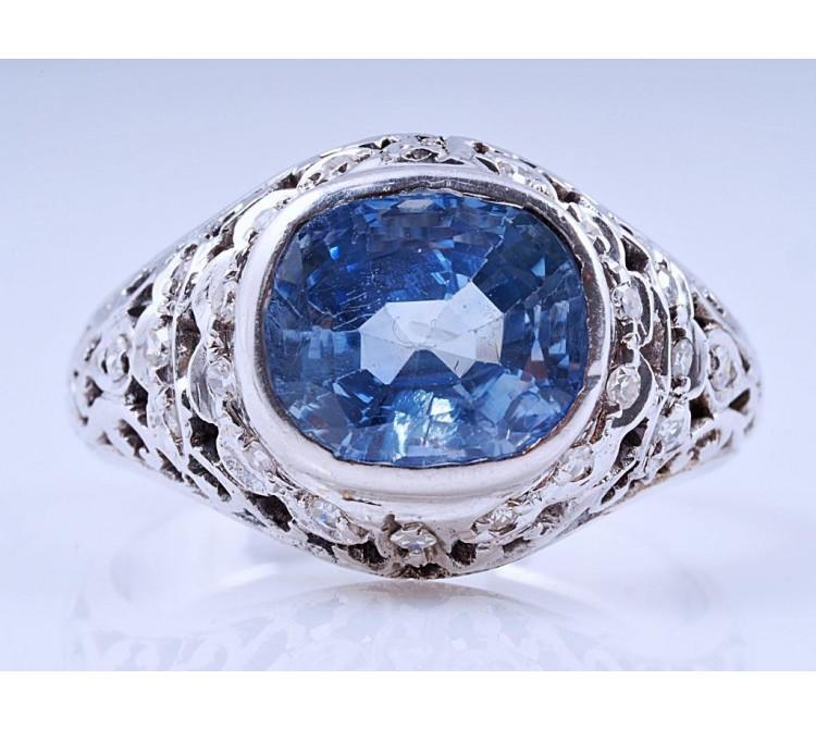 Ring Diamanten 4,00 Karat unbehandelter Saphir 750 Gold IGI Expertise