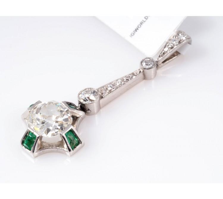antiker Art Deco Anhänger Diamanten Smaragde 950 Platin IGI Expertise