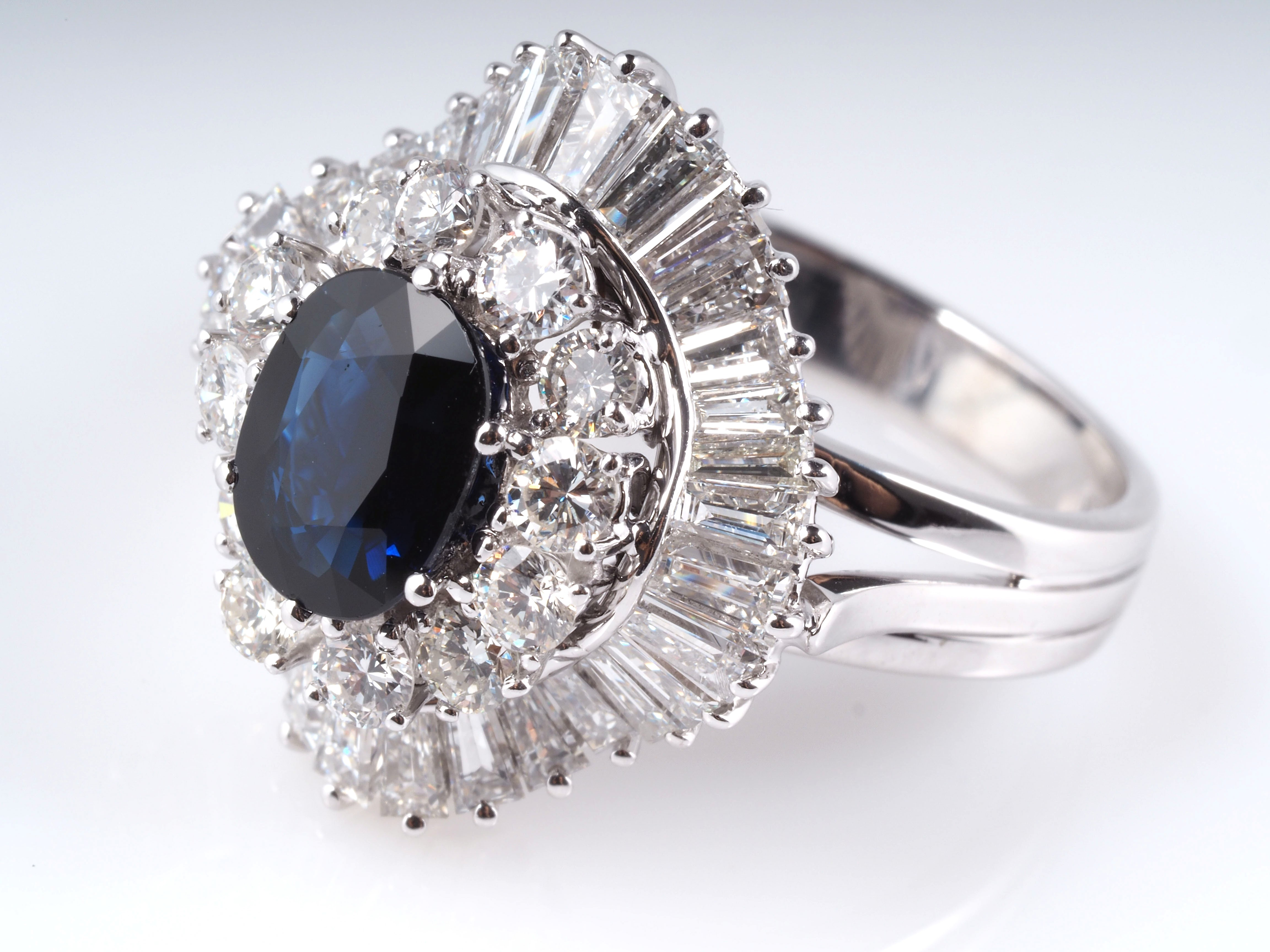 vintage ring mit 5 00 karat brillanten diamanten saphir 585 gold deta. Black Bedroom Furniture Sets. Home Design Ideas