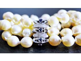 vintage Akoya Zucht Perlen Armband Saphire 925 Silber