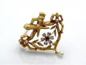antike JUGENDSTIL BROSCHE mit DIAMANTEN PERLEN RUBIN / 750 GOLD / um 1900
