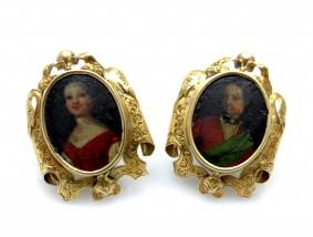 antike Ohrstecker Ohrringe um 1800 Handmalerei 750 Gold Handarbeit