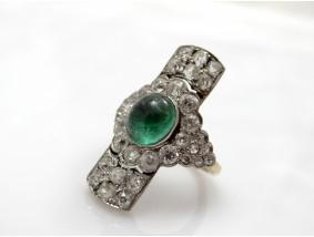 antiker Ring 4,80 Karat Diamanten Smaragd Gold Platin Wert: 8.900,- EUR