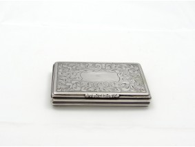 antike SCHNUPF TABAK DOSE / R KNORR / 13 - lötiges SILBER / HANDARBEIT um 1750