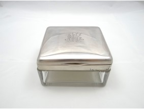 antike Glass Deckel Dose 800 Silber ca. 595,00 Gramm