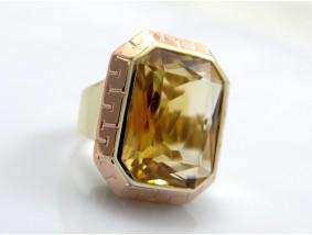 antiker Art Deco Ring 20,00 Karat Citrin 585 Gold 14 Karat Wert: ca. 1.300,- EUR