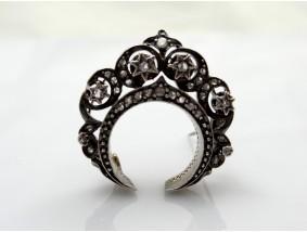 antike Brosche 0,60 Karat Diamanten 750 Gold Silber um 1850