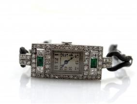 antike Mersmann Art Deco Damen Uhr Diamanten Smaragde Platin