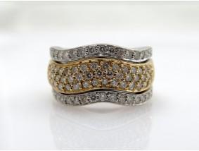 Bicolor Ring 1,30 Karat Brillanten 585 Gold 14 Karat