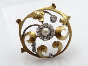antike Jugendstil Brosche 0,75 Karat Diamanten Natur Perle 750 Gold 18 Karat