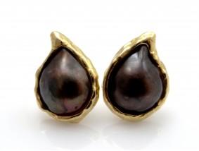 Ohrclips Ohrringe Mabe Zucht Perlen 750 Gold 18 Karat