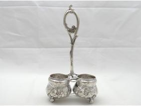 Jugendstil Menage von Krischer 800 Silber Handarbeit um 1900