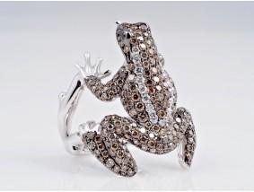 Frosch Ring 2,92 Karat Brillanten 750 Gold ca. 17,00 Gramm