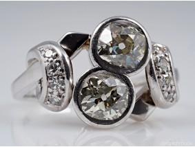 Art Deco Ring 1,70 Karat Solitär Diamanten 750 Gold um 1930 - 1940