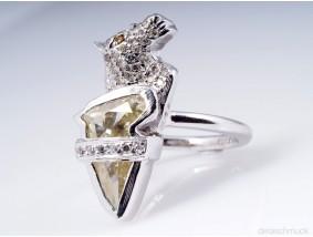 Designer Pferd Ring mit 1,92 Karat Brillanten Diamanten 950 Platin