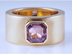 Band Designer Ring 2,00 Karat Pink Saphir 750 Gold ca. 14,50 Gramm