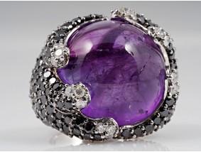 Coctail Ring Brillanten Diamanten Amethyst 585 Gold ca. 18,40 Gramm
