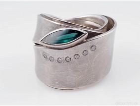 Designer Ring Brillanten Turmalin 900 Palladium ca. 27,30 Gramm
