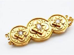 antike BROSCHE / NADEL mit 0,40 Karat DIAMANTEN / 750 GOLD / um 1900