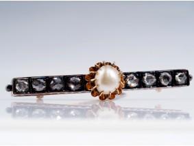 antike Brosche Nadel 0,60 Karat Diamanten Natur Perle 585 Gold Silber