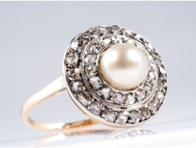 antiker Ring 0,50 Karat Diamanten Natur Perle 585 Gold DSEF Expertise