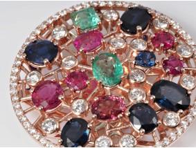 Anhänger 9,75 Karat Brillanten Saphir Rubin Smaragd 750 Gold Wert: 6.600,- EUR