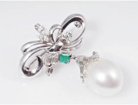 Brosche Anhänger Brillanten Diamanten Smaragd Südsee Zucht Perle 900 Platin