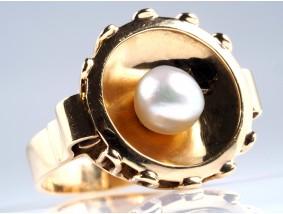 antiker Ring Natur Perle 585 Gold DSEF Expertise Deutschland um 1940
