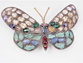 antike Schmetterling Brosche Nadel Turmalin Saphir Smaragd Rubin Gold Silber
