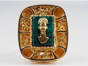 Set Anhänger Ring Malachit Platten 750 Gold Handarbeit Mexico um 1970 - 1980