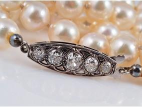 antike Akoya Zucht Perlen Kette Collier 1,20 Karat Diamanten Gold Silber