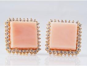 Marken Ohrringe Brillanten Koralle 750 Gold Wert: ca. 4.750,- EUR