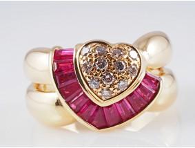 Ring Brillanten Rubine 750 Gold 18 Karat ca. 10,80 Gramm