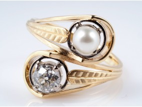 antiker Ring Diamant Natur Orient Perle 585 Gold Wert: ca. 2.900,- EUR
