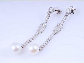 antike Art Deco Ohrstecker Ohrringe Diamanten Perlen 585 Gold Platin