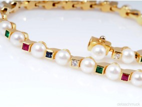 Armband Diamanten Edelsteine Zuchtperlen 750 Gold Wert: ca. 2.500,- EUR