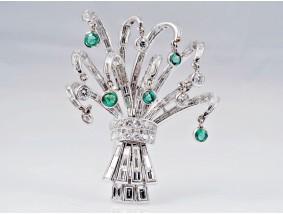 Brosche 3,70 Karat Brillanten Diamanten Smaragde 950 Platin Wert: 6.190,- EUR
