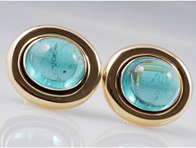 Ohrclips Ohrringe Turmaline Indigolite 750 Gold Handarbeit Einzelanfertigung