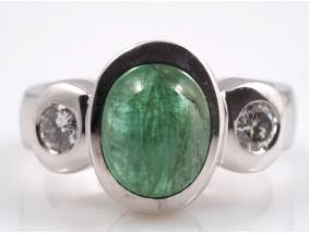 Ring 3,85 Karat Solitär Brillanten Smaragd 585 Gold