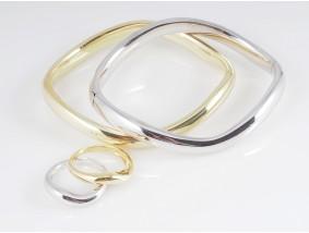 Marken Set zwei Armbänder Armreifen zwei Ringe 750 Gold 18 Karat