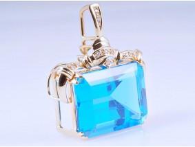 Anhänger 30,05 Karat Diamanten Topas 585 Gold 14 Karat um 1990