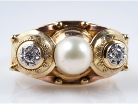 antiker Ring Brillanten Akoya Zucht Perle 585 Gold um 1940