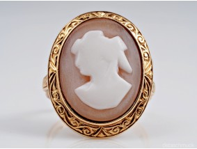 antiker Ring Gemma Kamee 585 Gold Handarbeit um 1920
