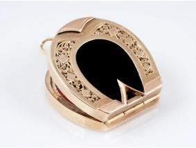 antiker Medaillon Anhänger Onyxplatten 585 Gold Handarbeit um 1900